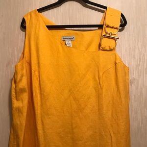 Jessica London Golden Yellow Linen Buckle Dress
